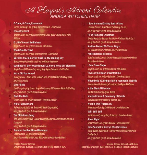 harpist's advent calendar included tunes